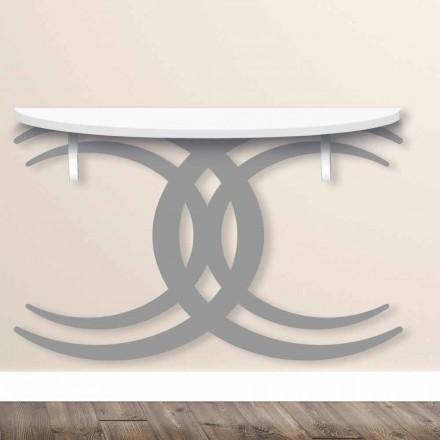 Konsol i montuar në mur për dizajn modern në dru të bardhë dhe gri - Coco