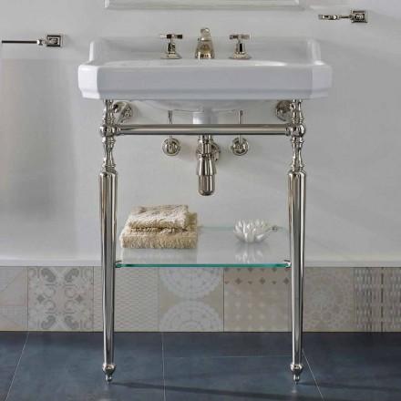Konzollë për banjë qeramike 65 cm me këmbë metalike të bëra në Itali Nausica