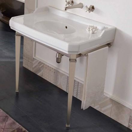 Konsolë banjo e Vjetër 90 cm, Qeramikë e Bardhë, me këmbët e bëra në Itali - Nausica