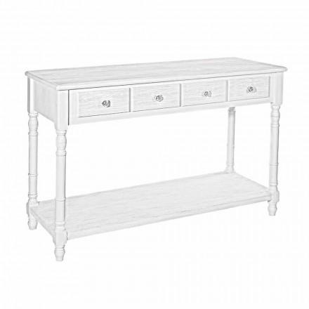 Stili klasik Tavolina e konzolës së bardhë Mdf Matt me 4 sirtarë - Xhenxhefil