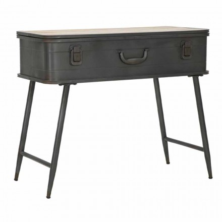 Console with Container Design Industrial in Iron and Wood - Gomes