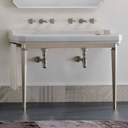 Konsola e banjës L 135 cm me një tas të dyfishtë në qeramikë të bërë në Itali - Nausica