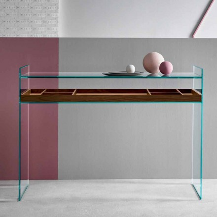 Design Consolle in Glass Extraclear with Tabay Made in Italy - Imperativo