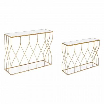 Konsolë elegante në çelik dhe gotë me dizajn modern dhe magjepsës 2 copë - Irene