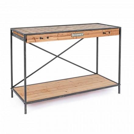 Ekran konsolësh në dru dhe xham pishe, stili industrial - Frigorifer