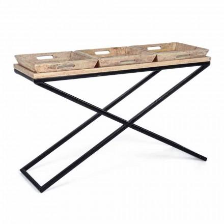 Konsolë në çelik dhe dru mange me tabaka të dizajnit industrial - Grila