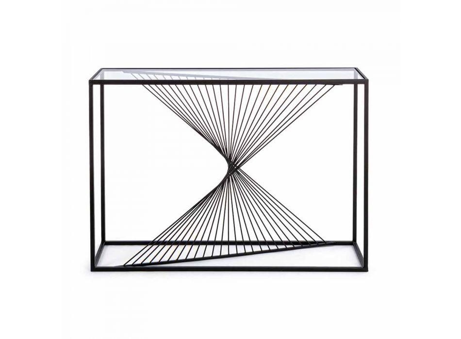 Console in Steel and Glass Modern Design Original Spiral - Sasuke