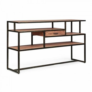 Console in Acacia Wood and Steel with Homemotion Design Drawer - Cristoforo