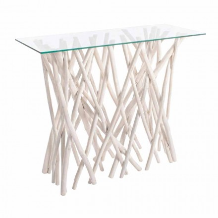 Konsol në dru tik të zbardhur dhe xham të lartë me dizajn luksoz - Francesca