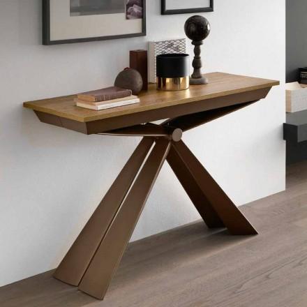 Konzolë tryeze në dru dhe metal të zgjerueshme deri në 295 cm prodhuar në Itali - Timedio