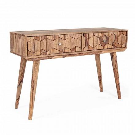 Konsolë druri Sheesham me dy sirtarë Homemotion Ethnic Design - Fregene