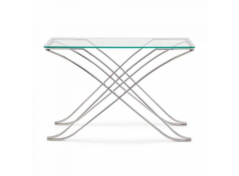 Consolle në Xhamin e Lartë dhe Bazën e Çelikut Design Homemotion Modern - Zafira