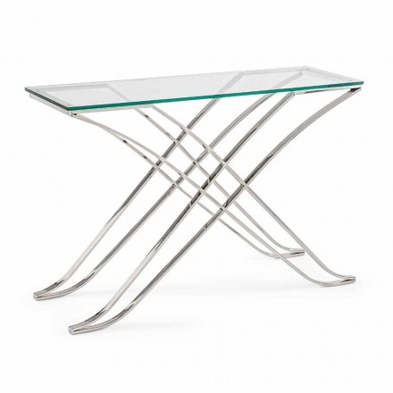 Console in Tempered Glass and Steel Base Design Modern Homemotion - Zafira