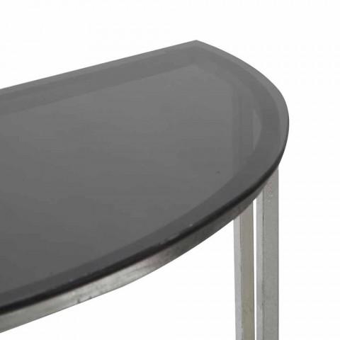 Consolle gjysmërrethi me stil modern në hekur dhe qelq - Augusta