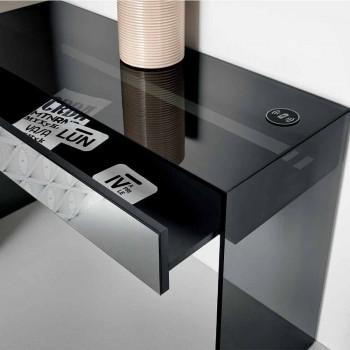 Tavolinë për tastierë në qelq të tymosur me sirtar të bërë në Itali - Mantra