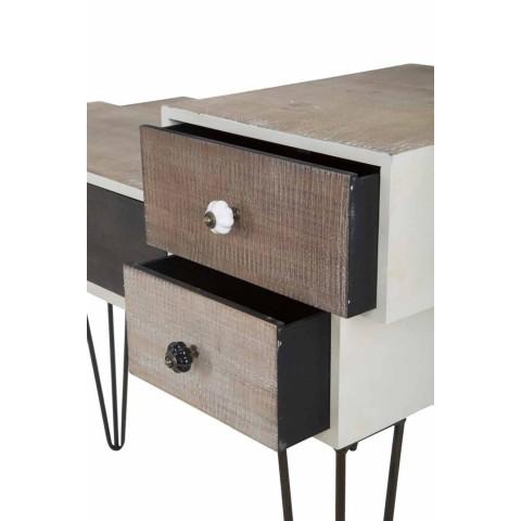 Console moderne e stilit industrial në dru dhe metal - Lille
