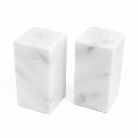 Kontejnerët me kripë dhe piper në mermerin e bardhë Carrara të bërë në Itali - Julio