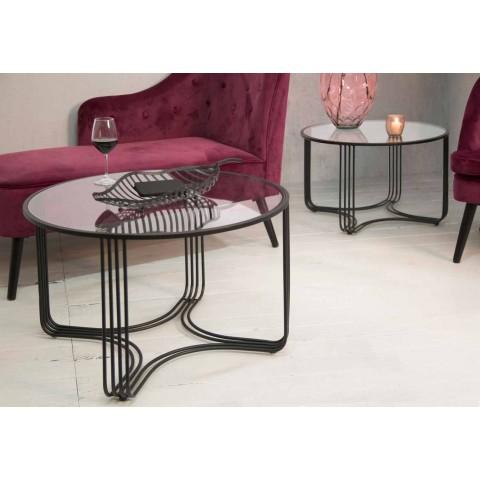 Palë e tryezave moderne të rrumbullakëta me kafe të ulët hekuri dhe qelqi - Mirna