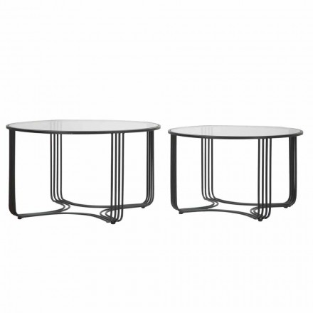 Palë e tryezave të rrumbullakëta me kafe moderne të ulëta në gotë dhe hekur - Mirna