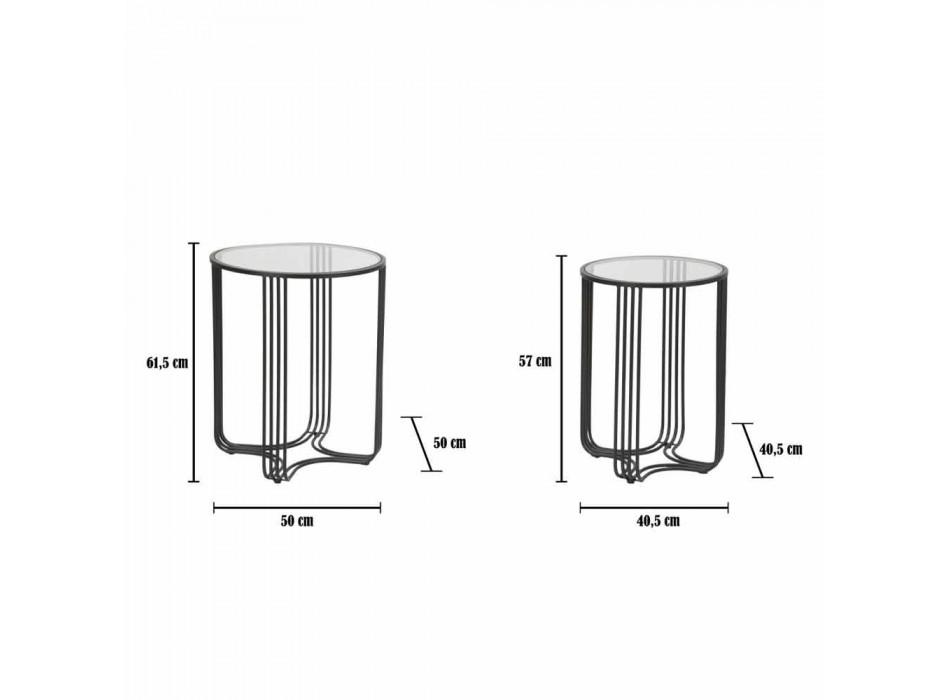 Palë tabelash të rrumbullakëta kafeje në modelin modern të hekurit dhe qelqit - Ezra