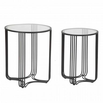 Palë tavolinash të rrumbullakëta kafeje në modelin modern të xhamit dhe hekurit - Ezra
