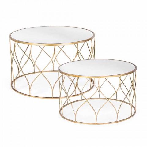 Çift tryezash të rrumbullakëta kafeje në lëvizje qelqi dhe çeliku - Amarillide