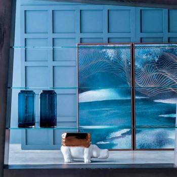 Çift vazo dekorative në xham me ngjyrë blu dhe të tymosur, Dizajn Modern - Adriano