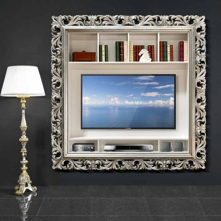 Kornizë murale TV punuar me dorë nga druri, prodhuar 100% në Itali, Mario