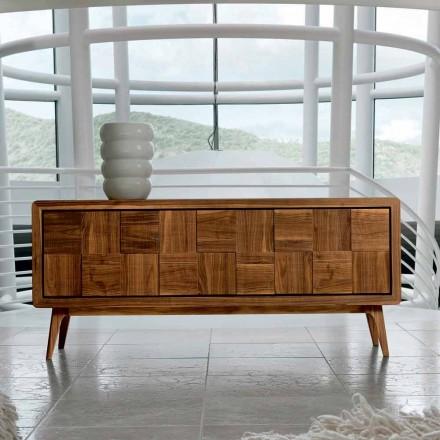 Tavolina anësore moderne Nensi me 3 dyer në dru të ngurtë, e bërë në Itali