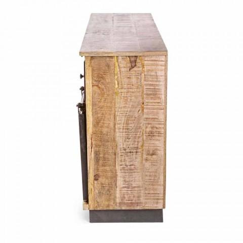 Dërrasë anësore me strukturë në dru mange dhe çelik në stil industrial - Vidia