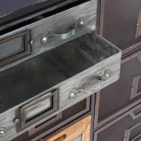 Dërrasë anësore në çelik me detaje në stilin industrial të zinkut dhe drurit - Indi