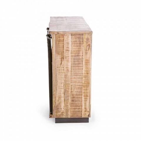 Dërrasa anësore në dru dhe çelik me dyer dhe 4 sirtarë Stili industrial - Renza
