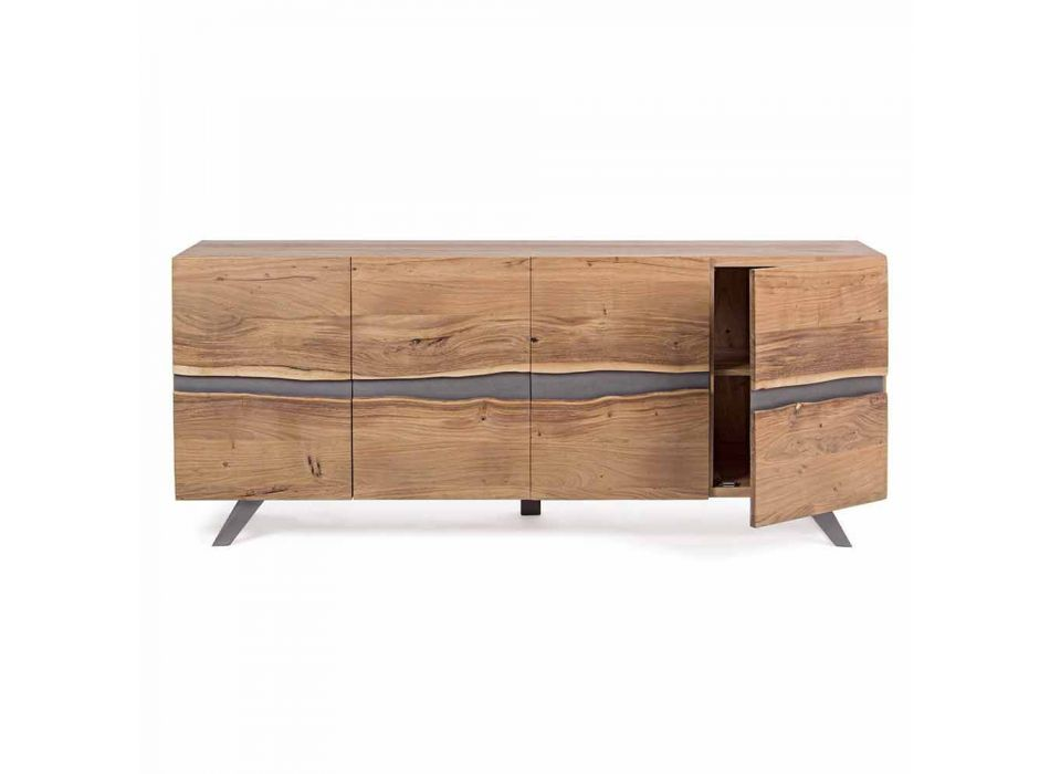 Dërrasë anësore në dru dhe çelik i pikturuar me dizajn modern Homemotion - Silvia