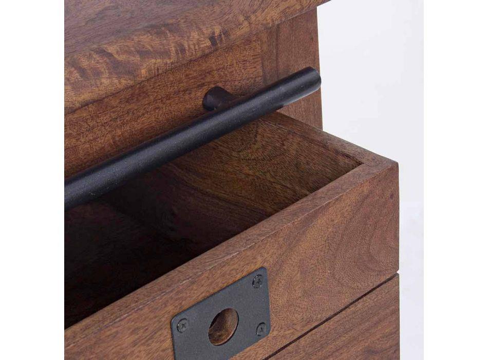 Dërrasa anësore në dru dhe MDF me shtresa çeliku dhe dekorime Homemotion - Pablo