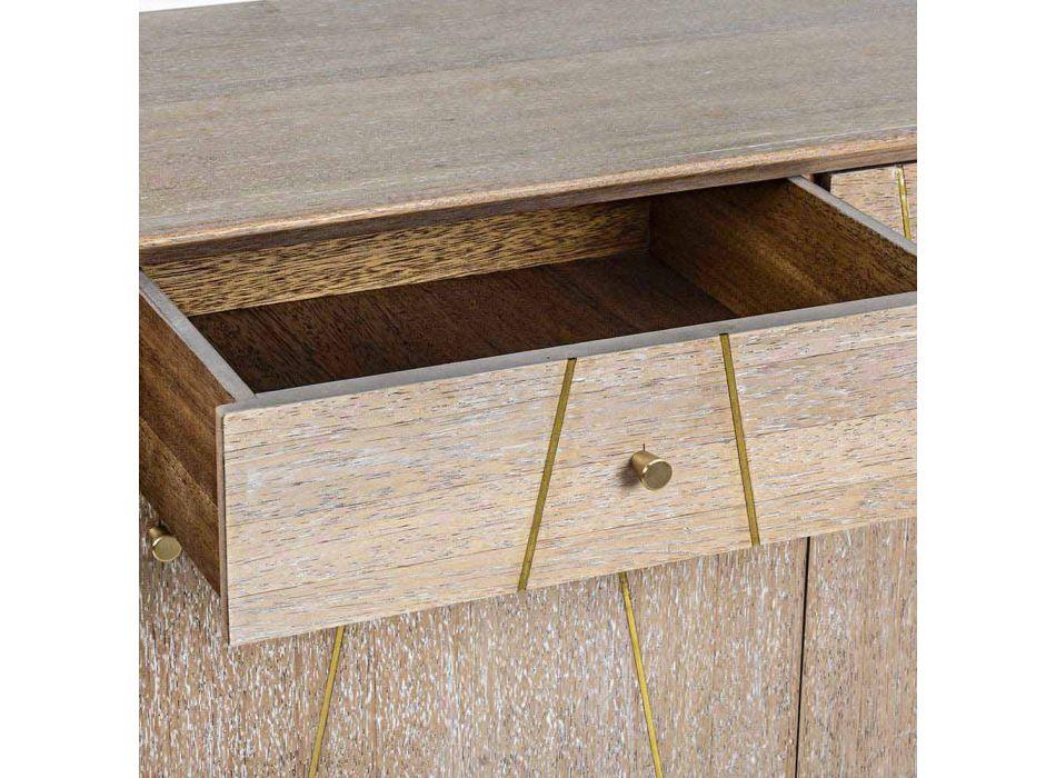 Dërrasa anësore në dru tik me futje çeliku të artë në stilin e cilësisë së mirë - Mayra