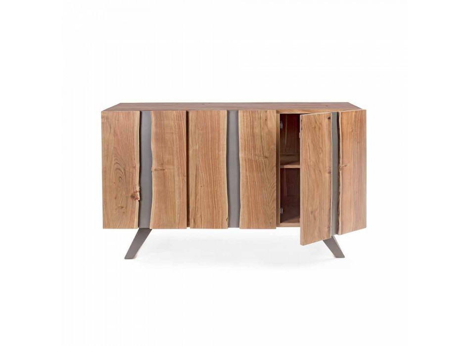 Dërrasë anësore moderne në dru akacie me futje metalike Homemotion - Sonia