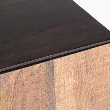 Dërrasë anësore moderne në dru mango me doreza çeliku Homemotion - Amilcare