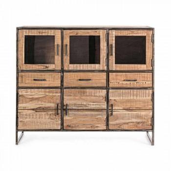 Dërrasa anësore e stilit industrial në lëvizjen prej druri dhe çeliku të akacieve - Zompo