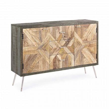 Sideboard me stil të cilësisë së mirë me strukturë druri dhe detaje çeliku - Adiva