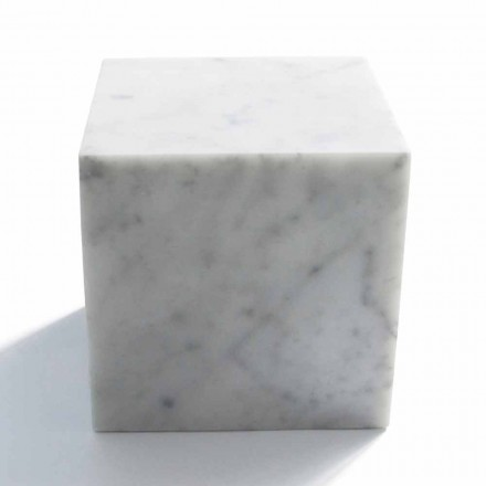 Design Cube Paperweight në mermer Saten White Carrara Made in Italy - Qubo