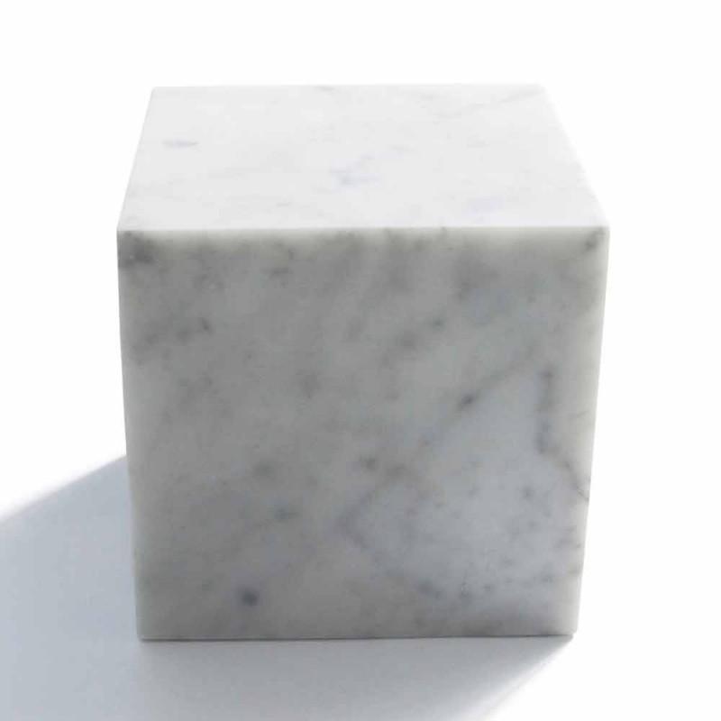 Design Cube Paperweight në mermer Saten White Carrara Made in Italy - Qubo