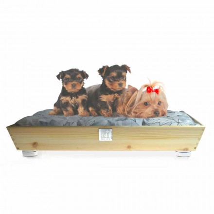 Lukuni për qen dhe mace në dru të ngurtë me doreza dhe jastëk prodhuar në Itali - Lyn