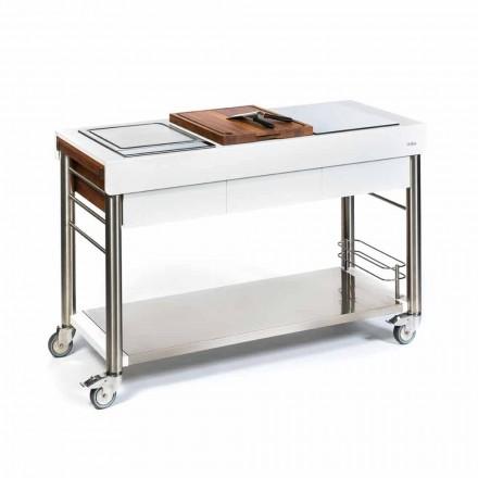 Kuzhina në natyrë në rrotat e projektimit, cilësi të lartë në dru dhe çelik - Calliope