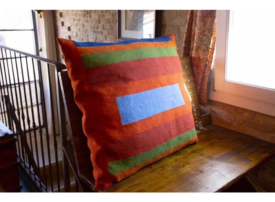 Hand Painted Hemp Cushion Piece Unique Piece Art Italian - Marka