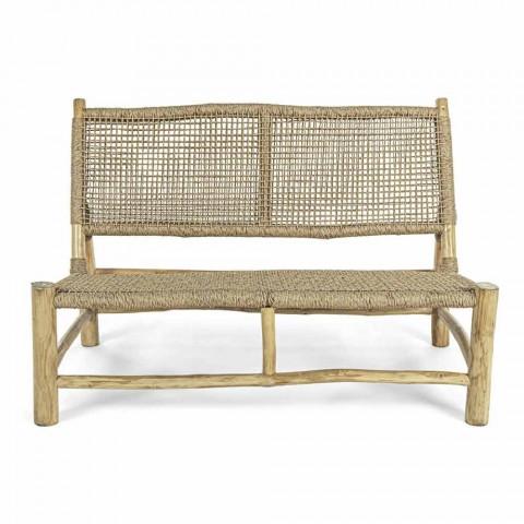 Divan në natyrë me 2 ulëse në degët e dru tikut dhe fibra sintetike - Tecno