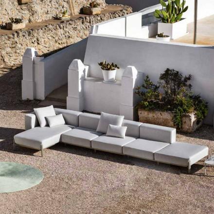 Divan në ambiente të jashtme me 3 ulëse në alumini me qese dhe shezlong - Filomena