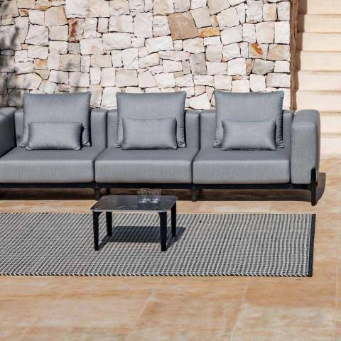 Divan në natyrë me 3 ulëse në alumini dhe pëlhurë në 3 përfundime - Filomena