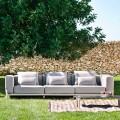 Divan në ambiente të jashtme me 3 ulëse në alumin dhe pëlhurë me cilësi të lartë - Filomena