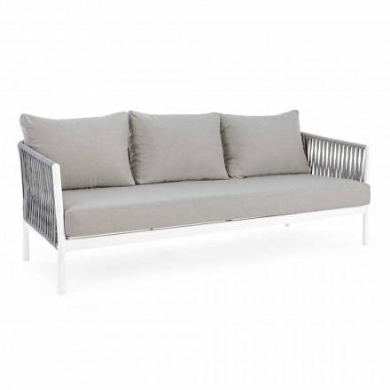 Homemotion - divan i jashtëm Rubio 3 Seater Design në Bardhë dhe Gri