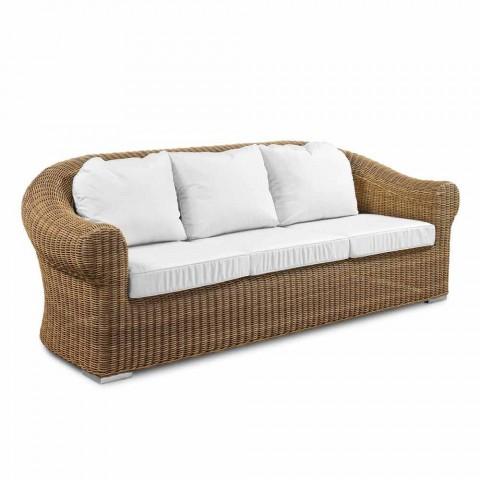 Divan për ambiente të jashtme me 3 ulëse në bastun prej palme kacavjerrëse sintetike dhe pëlhurë të bardhë ose ekru - Yves